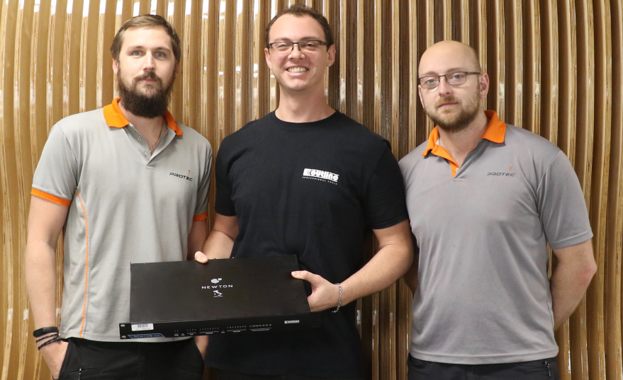 Protec's Tim Allison, Luca Gianni and Chris McAleese with their Newton by Outline processor investment from from PRO LAB